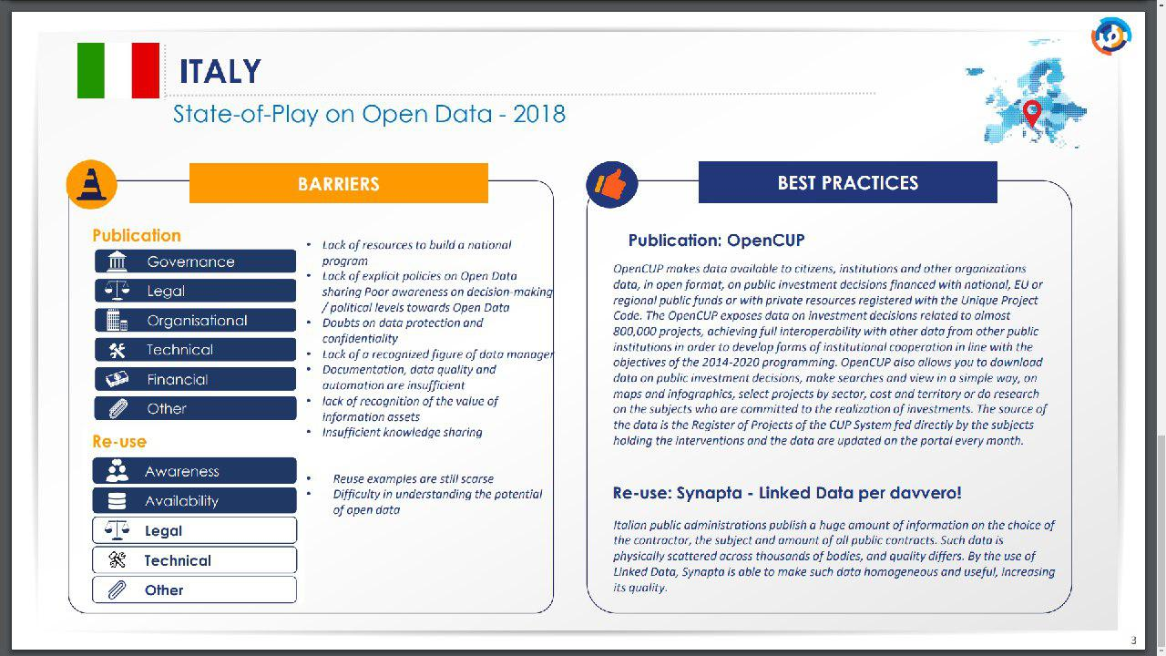 report sugli open data in italia del 2018 dell'unione europea